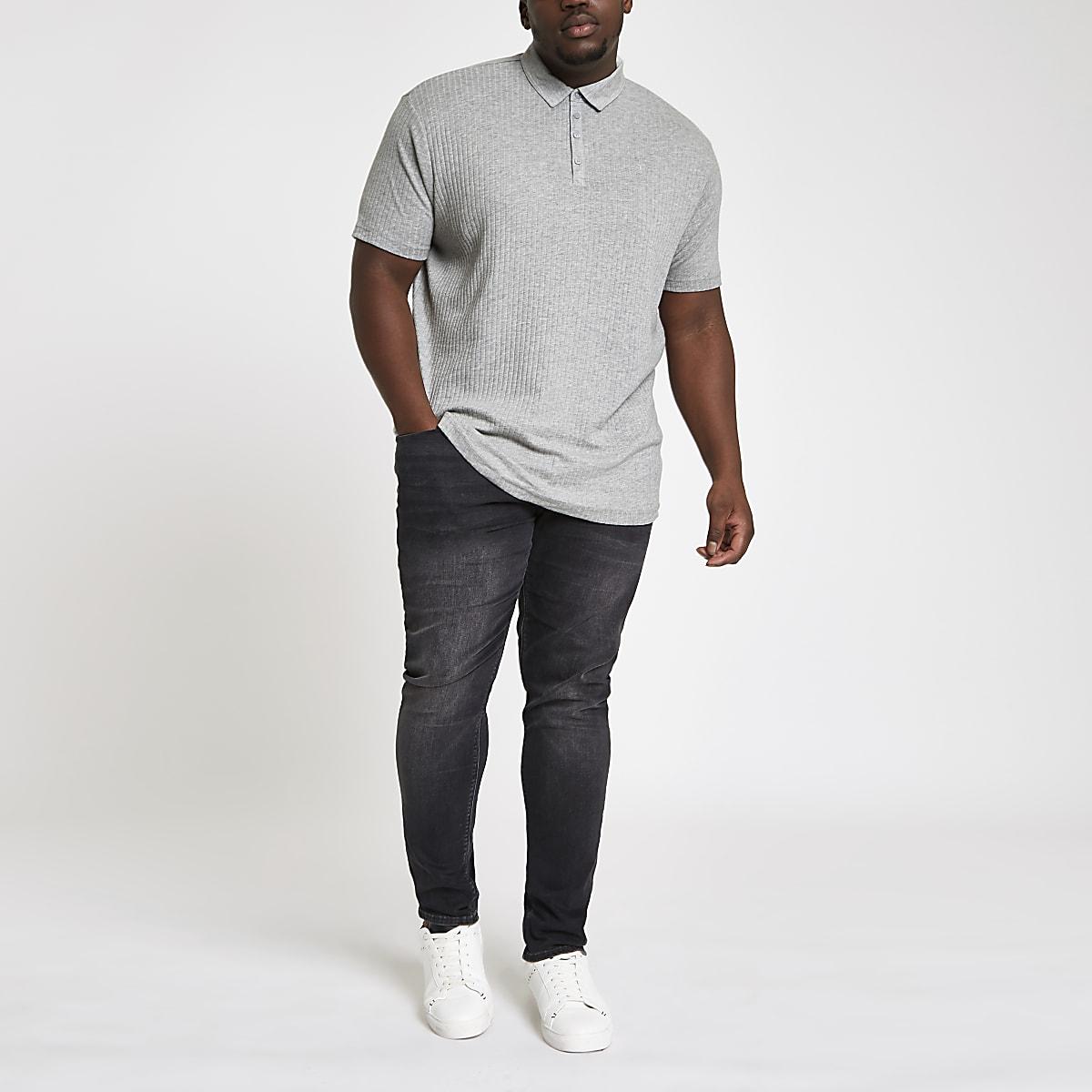 Big and Tall – Polo côtelé ajusté gris
