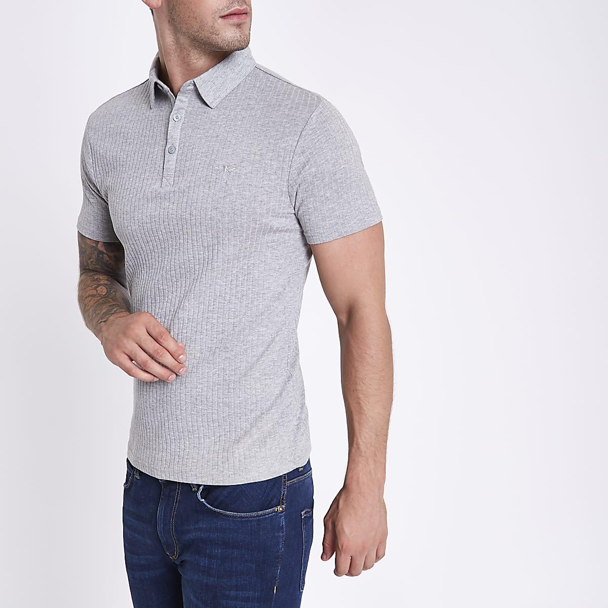 Grey marl muscle fit ribbed polo shirt