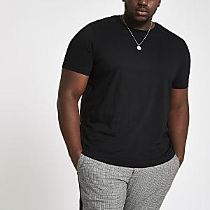 Big and Tall black slim fit T-shirt
