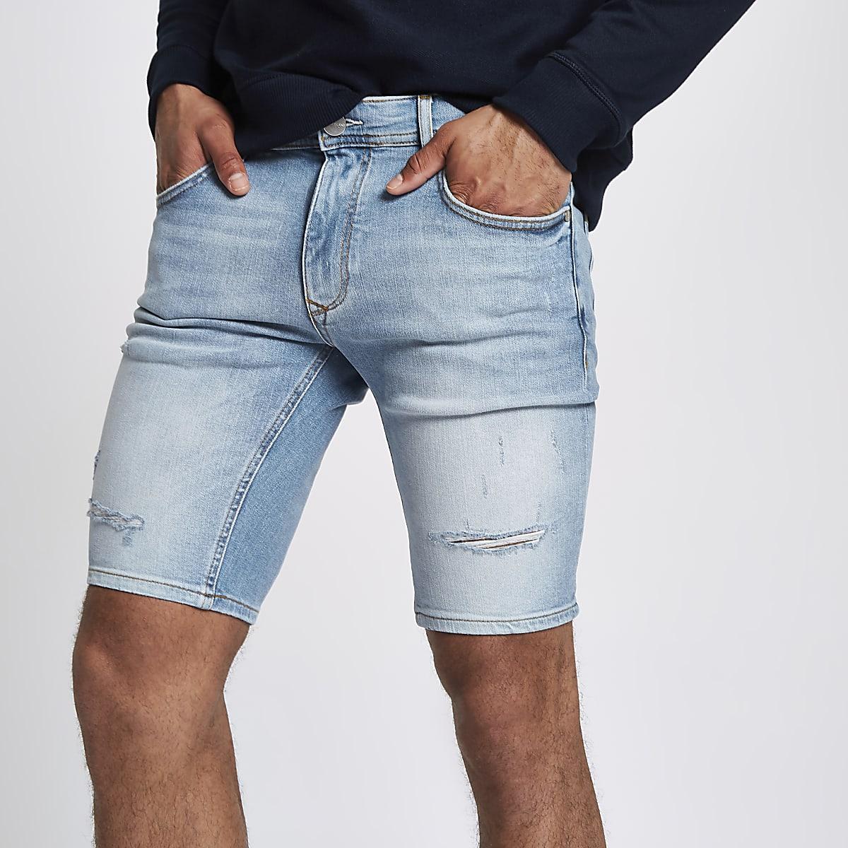 Light blue skinny denim ripped shorts