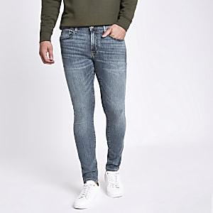 Mid blue Danny distressed super skinny jeans