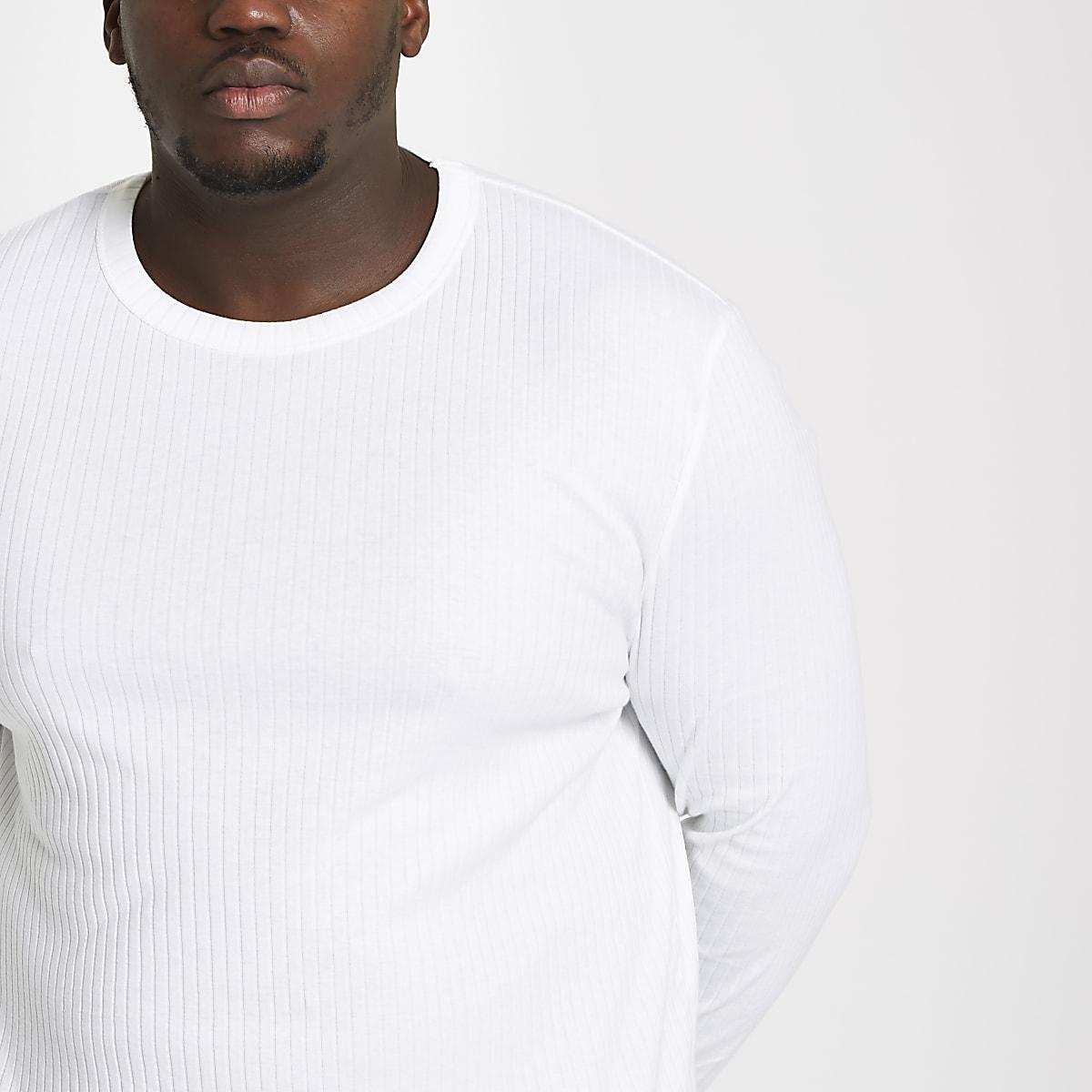 Big and Tall - Wit geribbeld T-shirt met lange mouwen