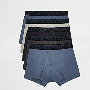 Set van 5 blauwe strakke boxers met RI-logo op de tailleband