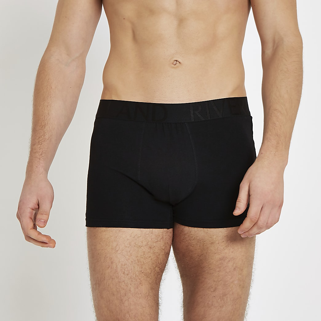 Set van 5 zwarte strakke boxers met RI-logo op de tailleband