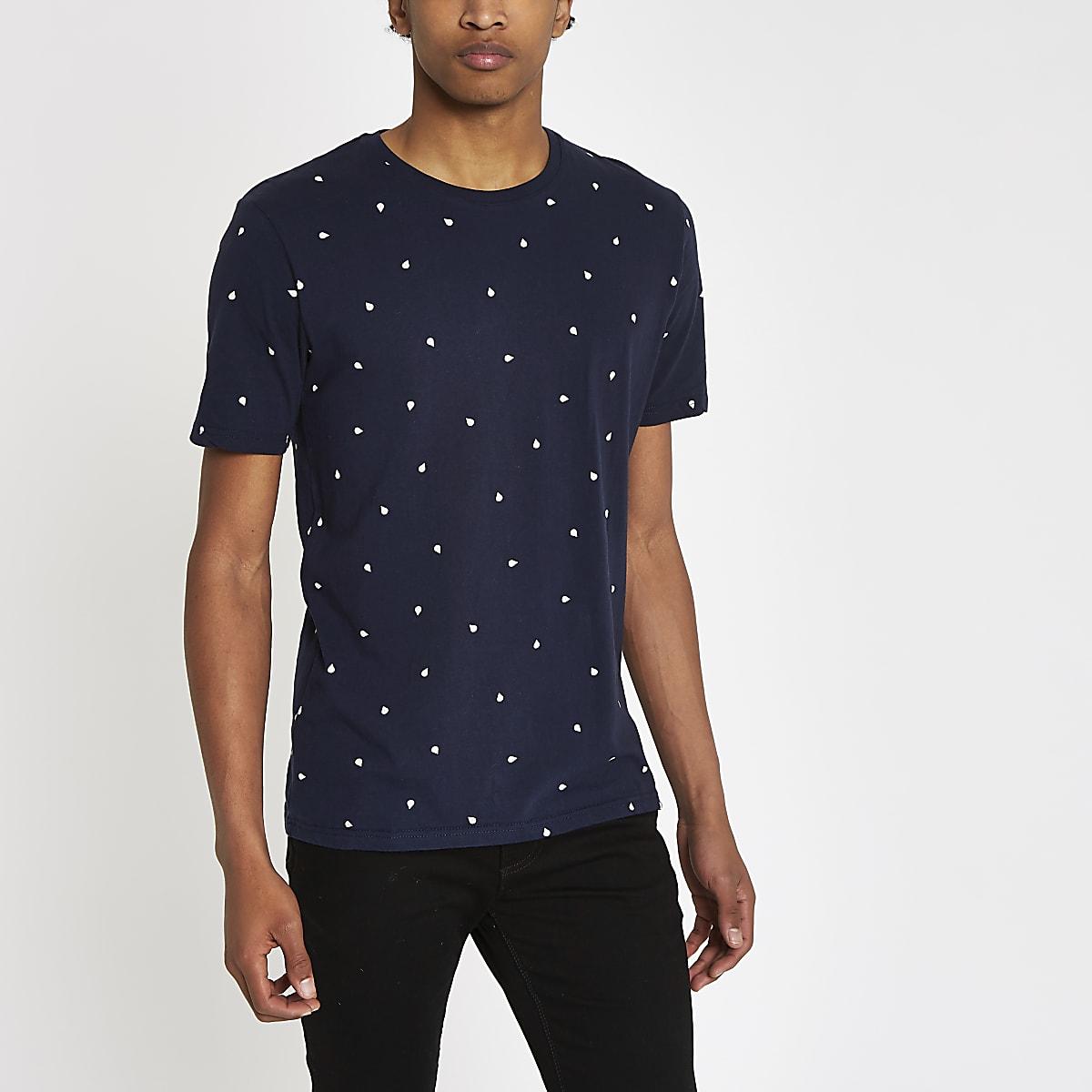 Minimum navy raindrop print T-shirt