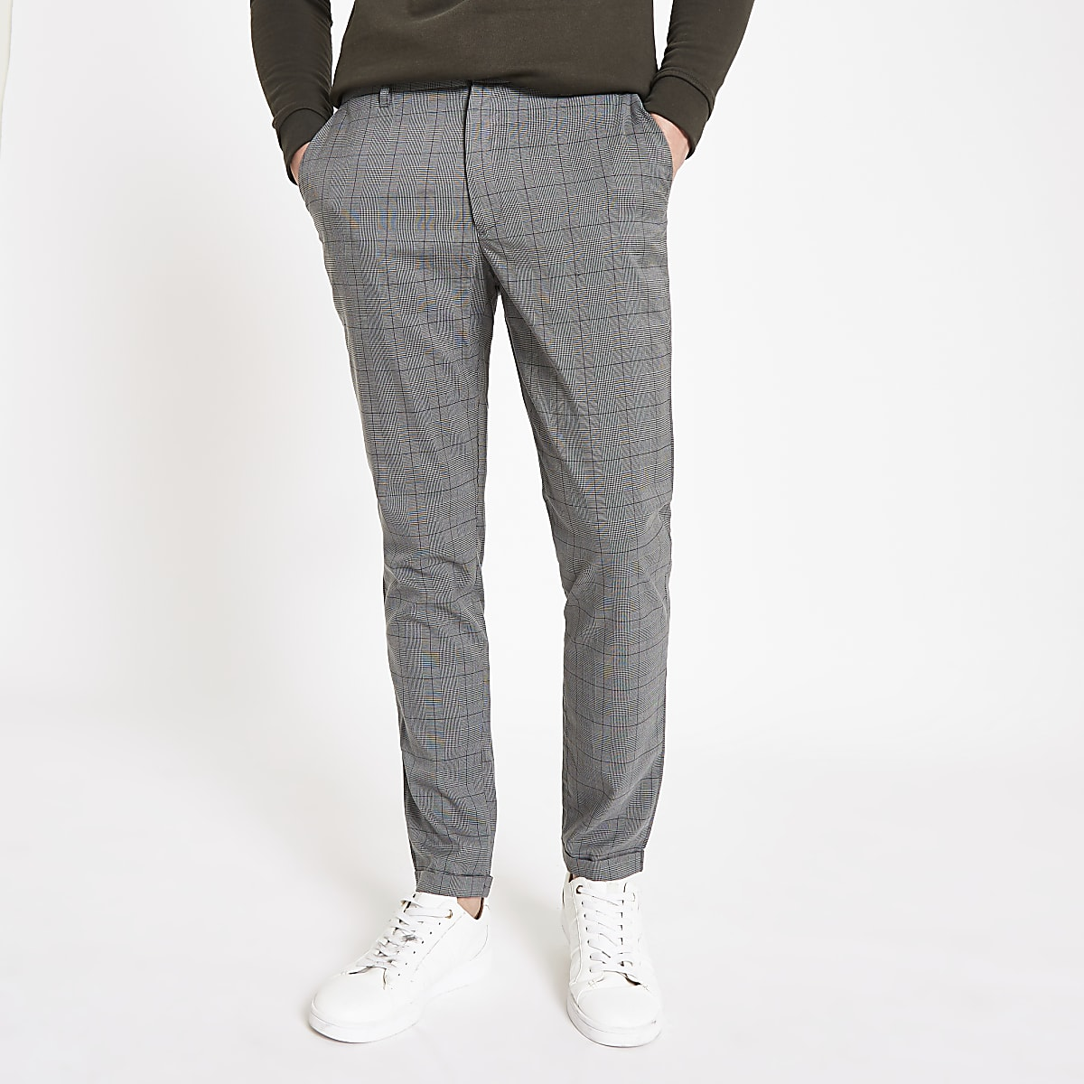 Minimum grey check slim fit trousers