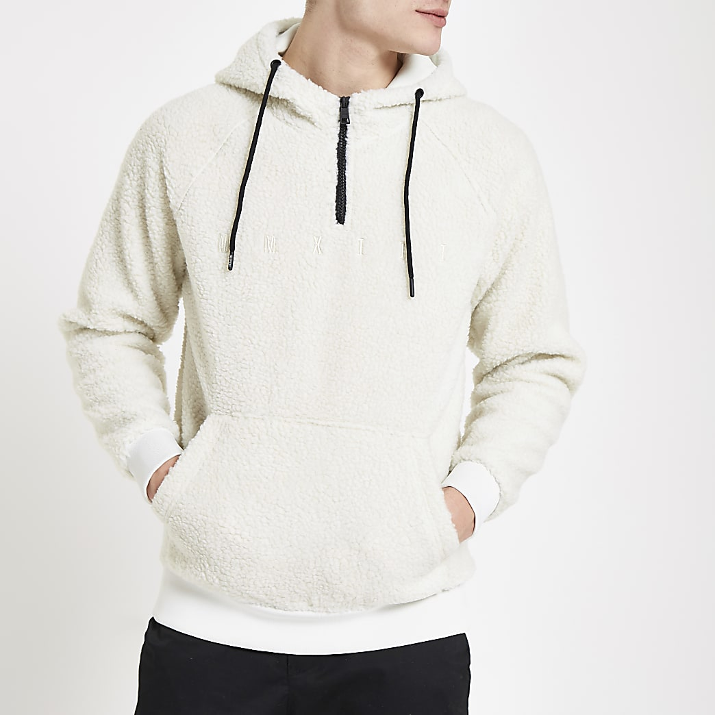 Only & Sons white hooded fleece