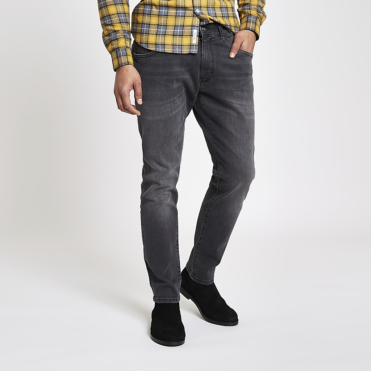 forefront of the times best selection of extremely unique Wrangler grey Bryson skinny fit jeans