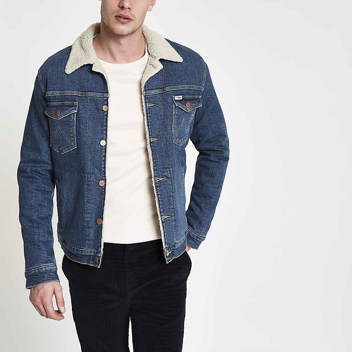 Wrangler blue borg collar denim jacket