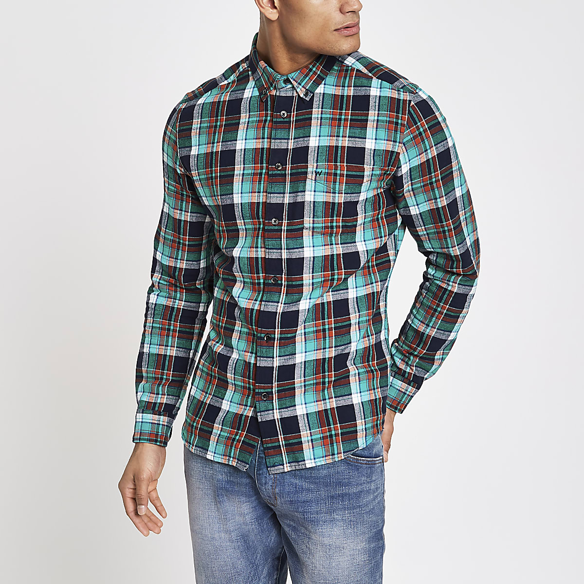 Wrangler blue long sleeve check shirt