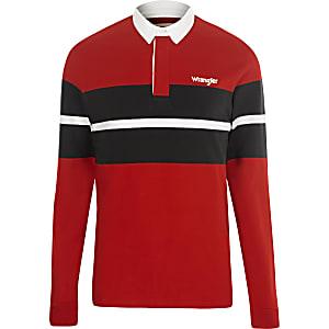 Wrangler – Maillot de rugby colour block rouge à manches longues