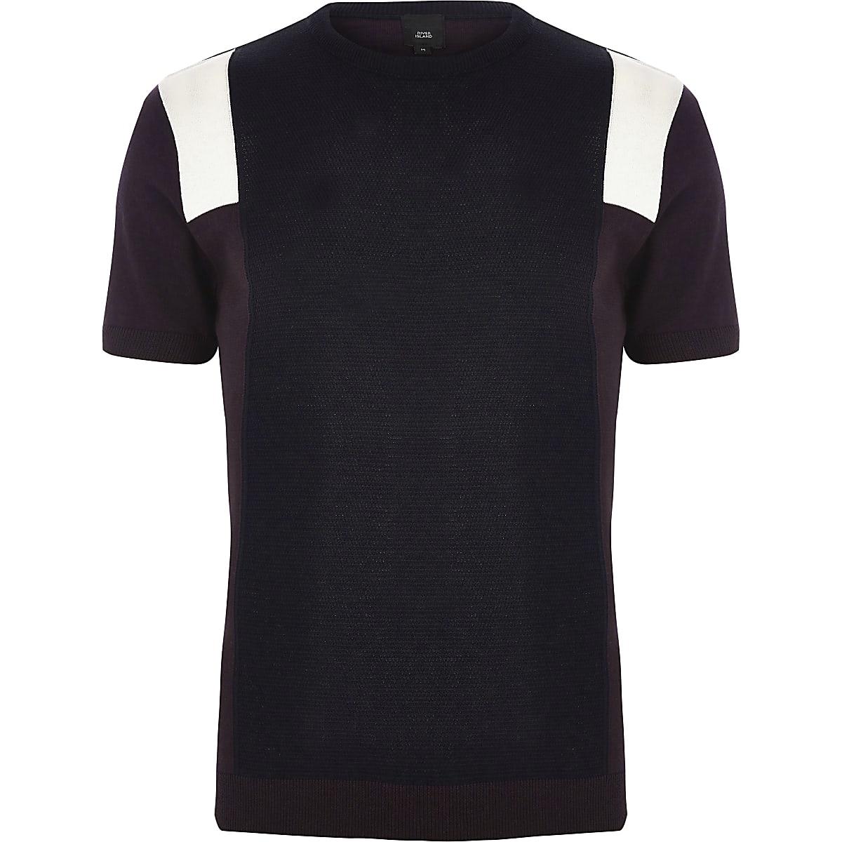 Vlakken Gebreid Donkerrood T Shirts Met Shirt Slim Fit wO80mNnv