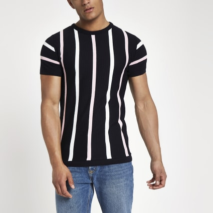 Navy knit stripe slim fit T-shirt