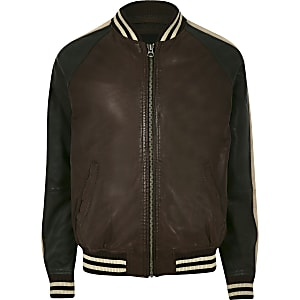 Pepe Jeans brown leather tipped bomber jacket