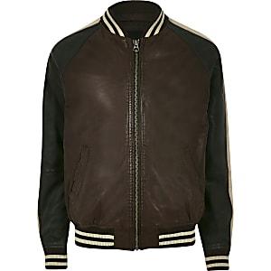 Pepe Jeans - Blouson en cuir marron à bordure
