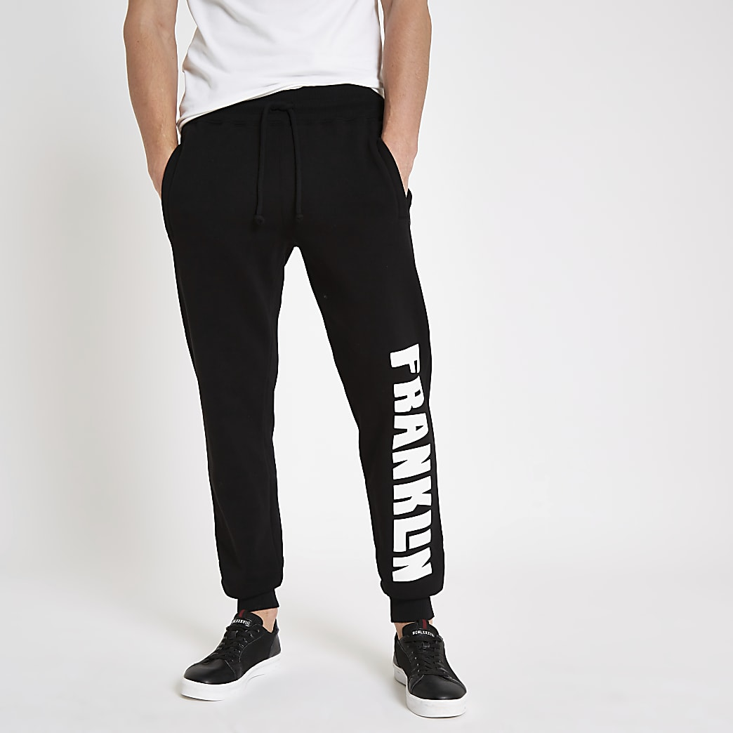 Franklin & Marshall - Zwarte fleece joggingbroek