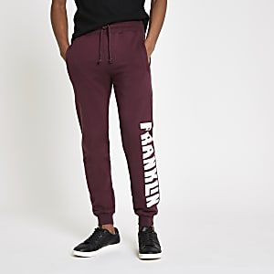 Franklin & Marshall – Pantalon de jogging en molleton bordeaux