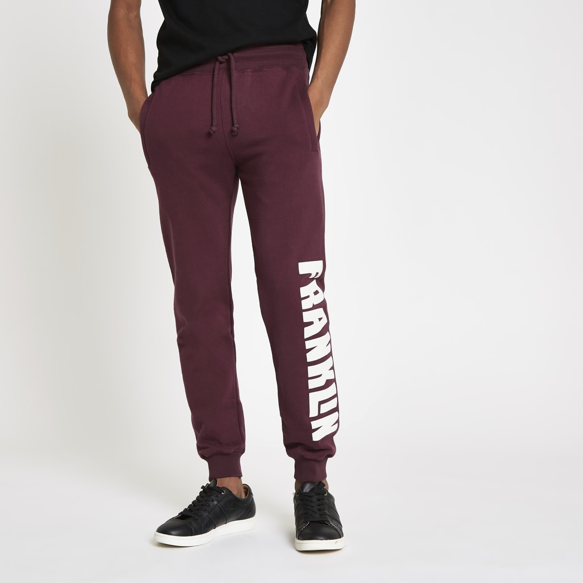 Franklin & Marshall – Pantalon de jogging en molleton bordeaux