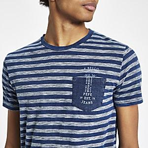 Pepe Jeans – Blaues, gestreiftes T-Shirt