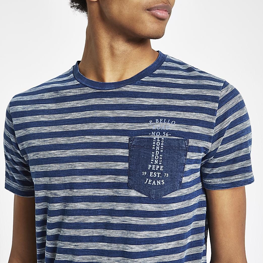 Pepe Jeans – T-shirt rayé bleu