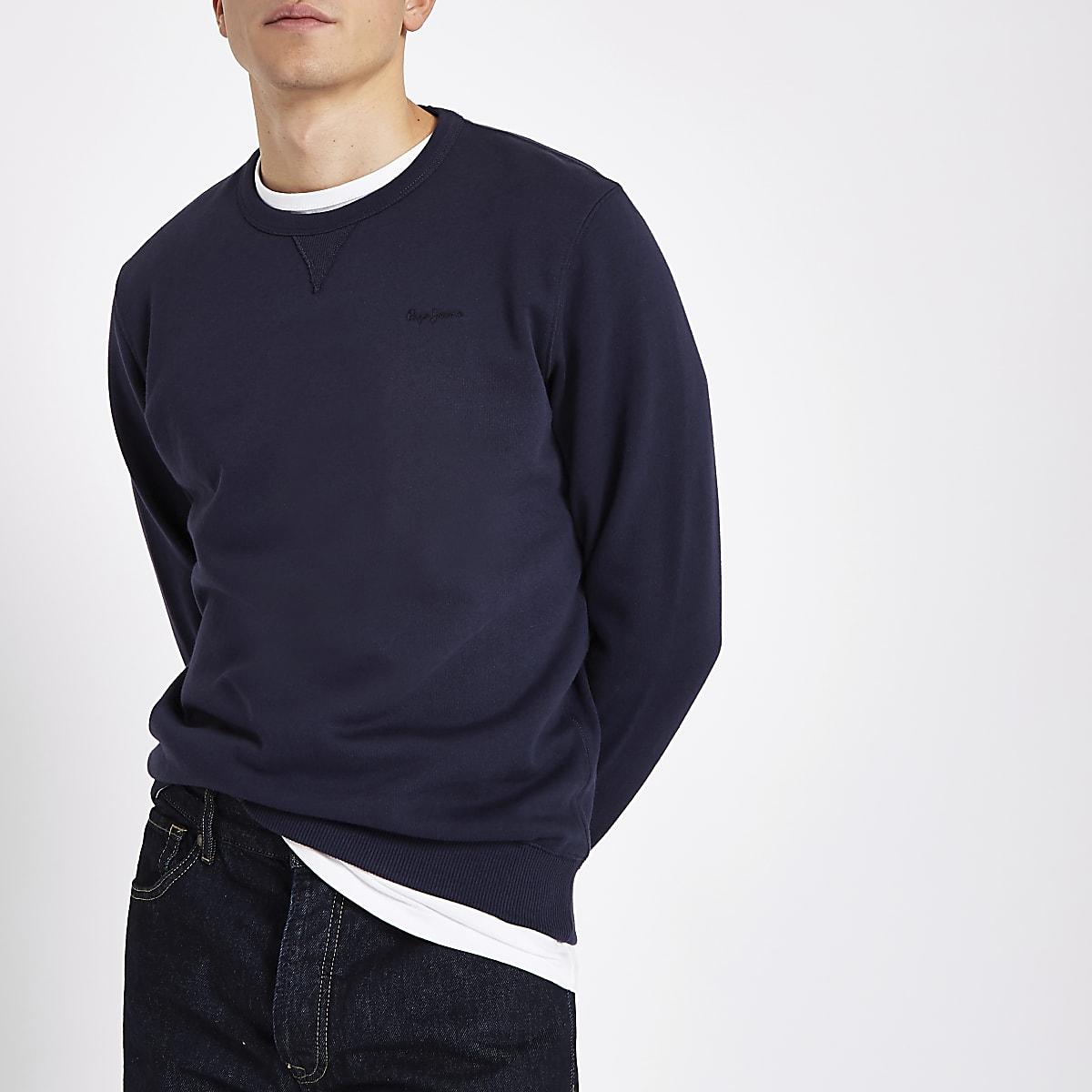 Pepe Jeans – Marineblauer Pullover mit Rundhalsausschnitt