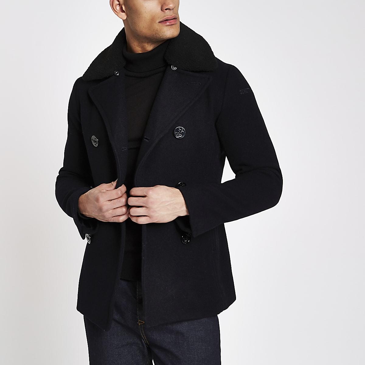 Schott navy wool blend fleece peacoat