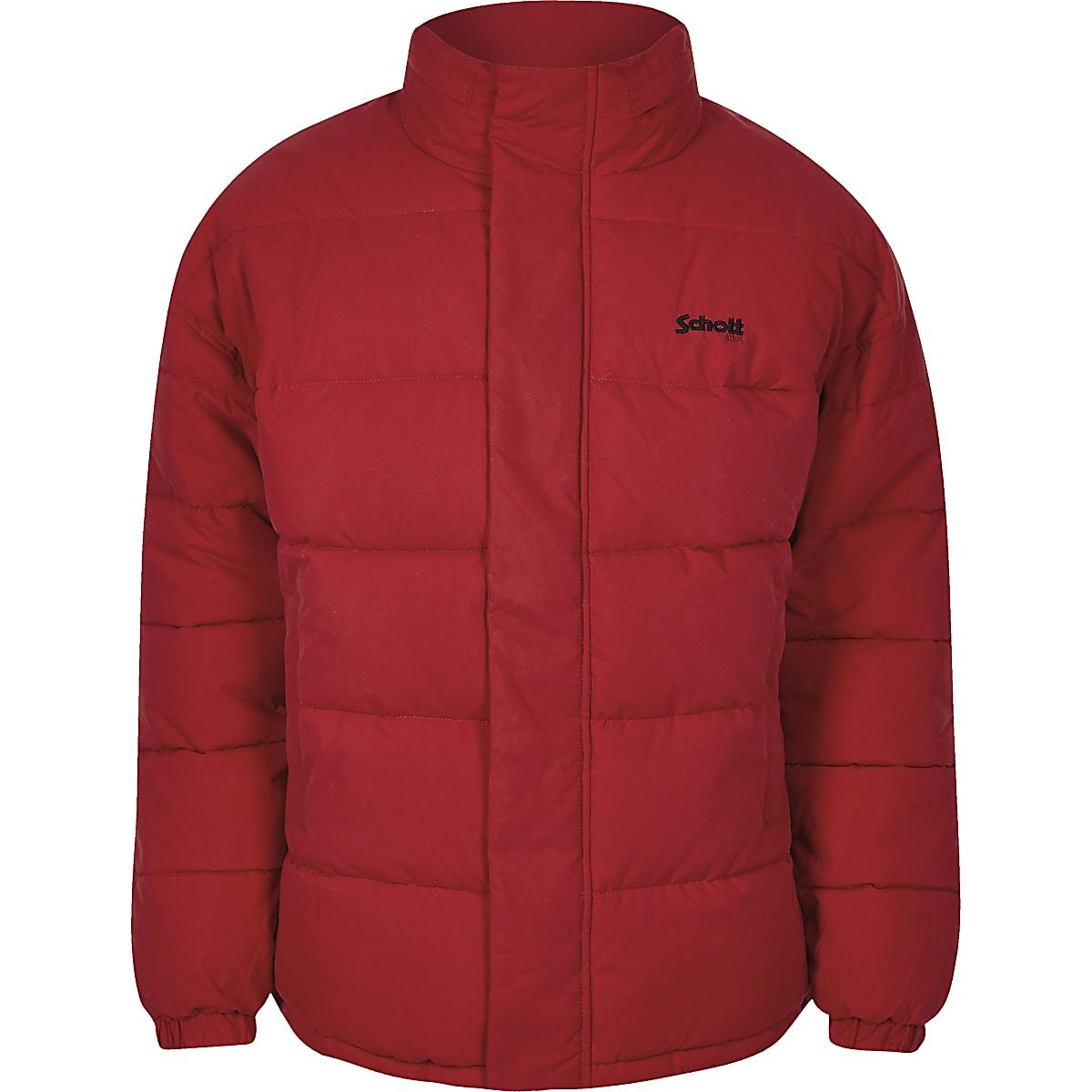 Schott red hidden hood puffer jacket