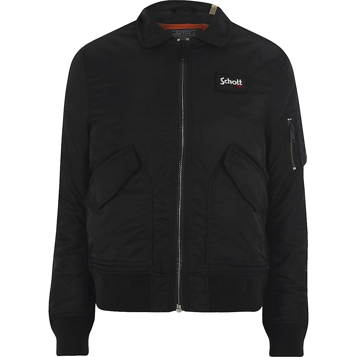 Schott black collar jacket