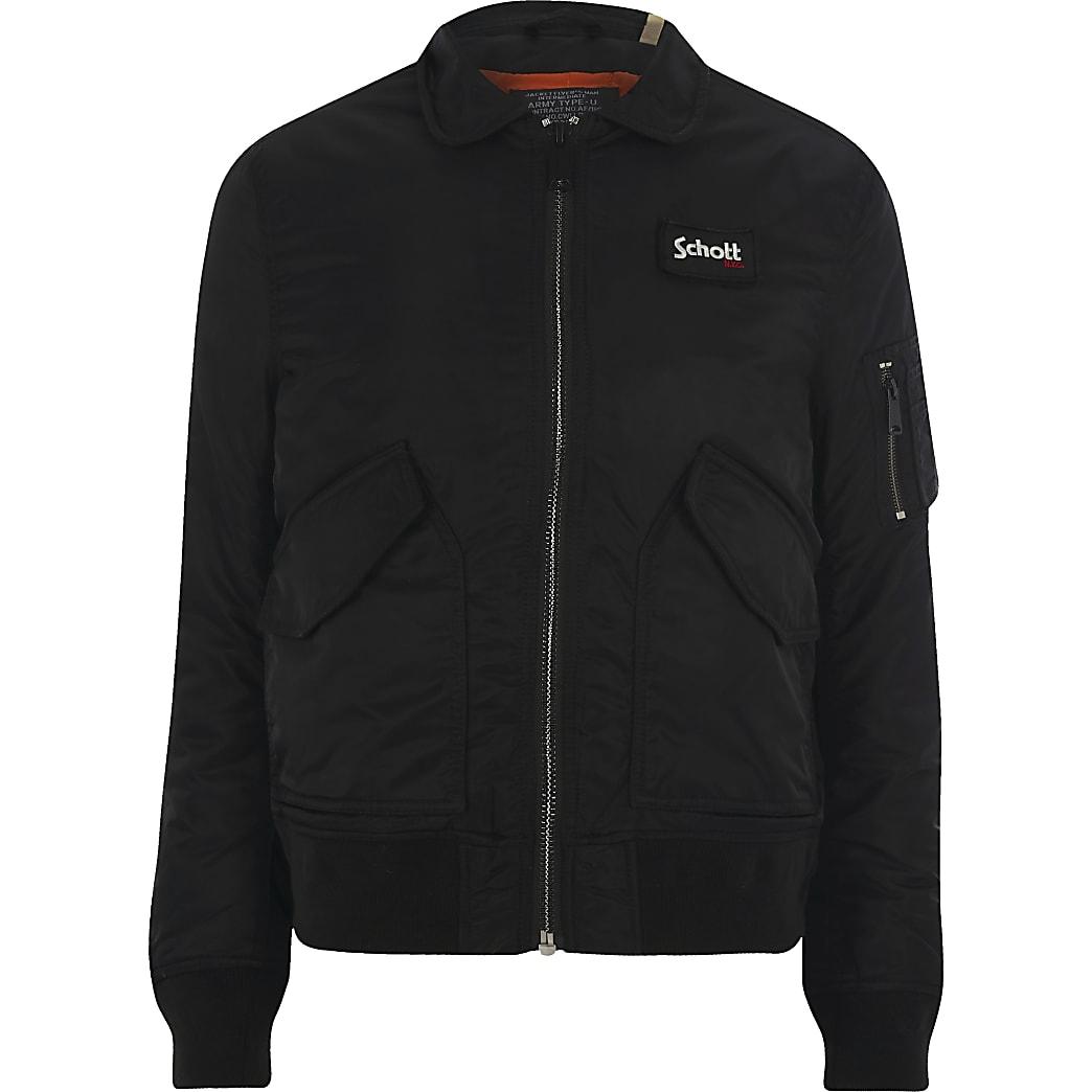 Schott – Veste noire à col