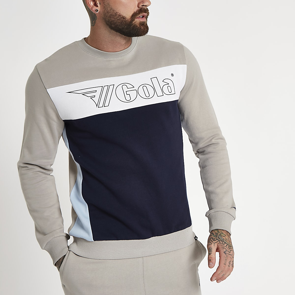 358f33c8 Gola stone logo panel print sweatshirt - Sweatshirts - Hoodies &  Sweatshirts - men