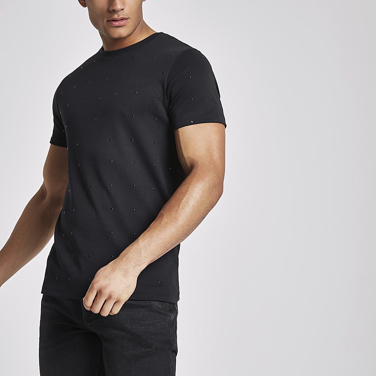 T-shirt ras-du-cou slim noir clouté