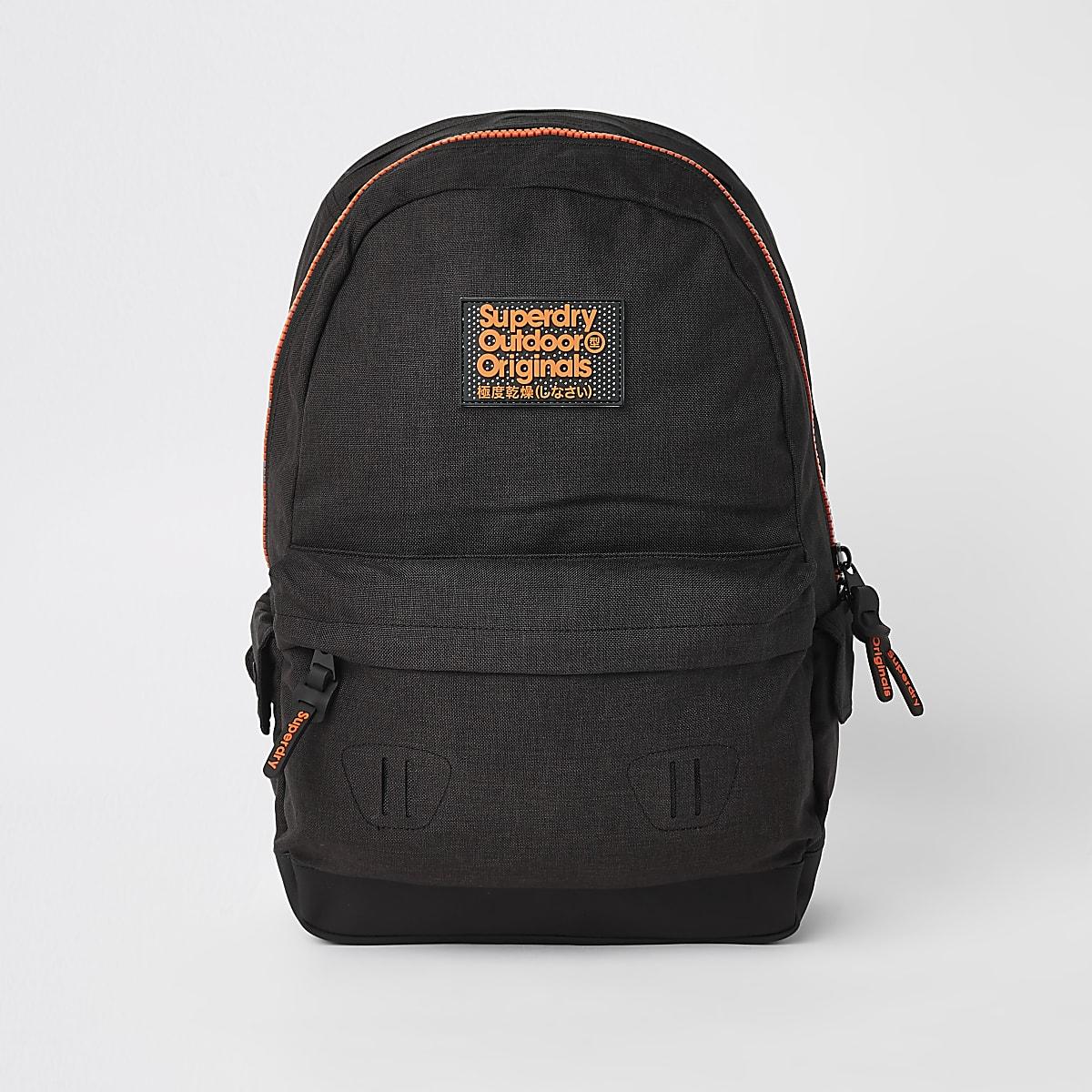 Superdry Originals black front logo backpack