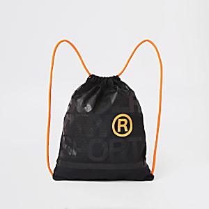 Superdry - Zwarte tas met trekkoord en logo