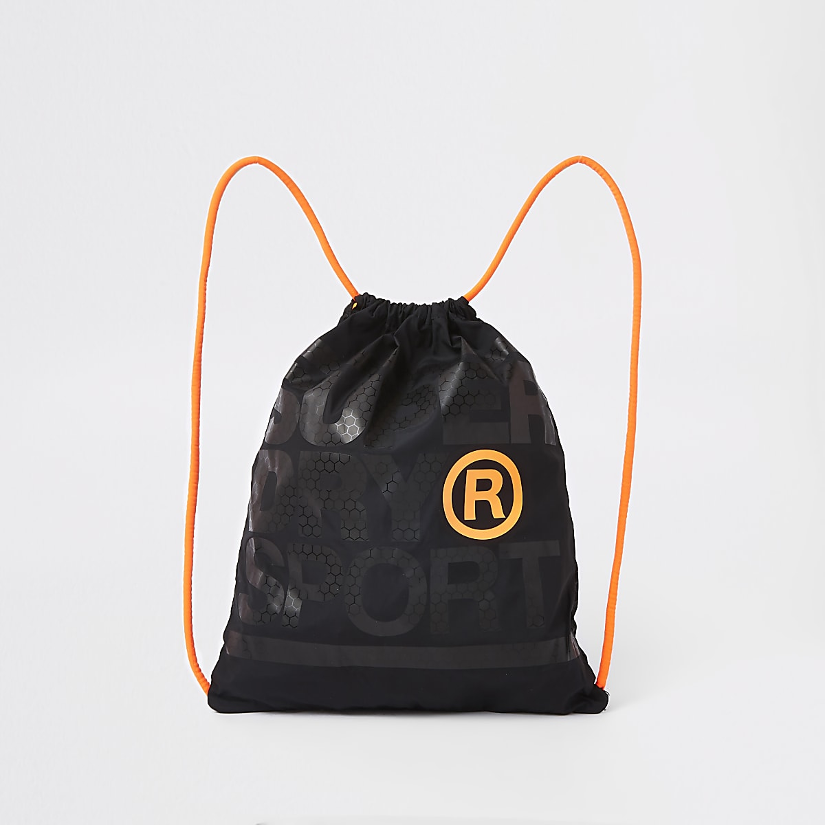 Superdry black logo print drawstring bag