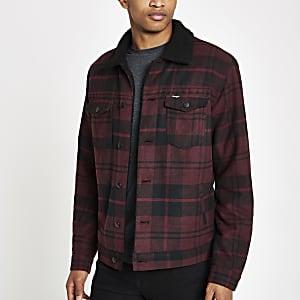 Wrangler dark red check trucker jacket