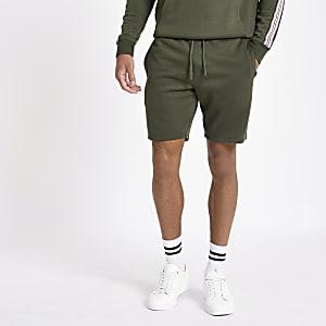 Dark green tape shorts