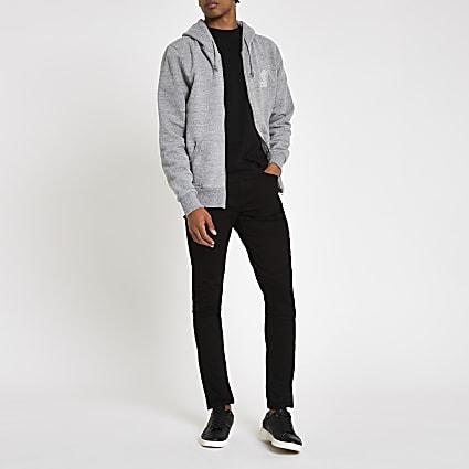 Franklin & Marshall grey zip front hoodie