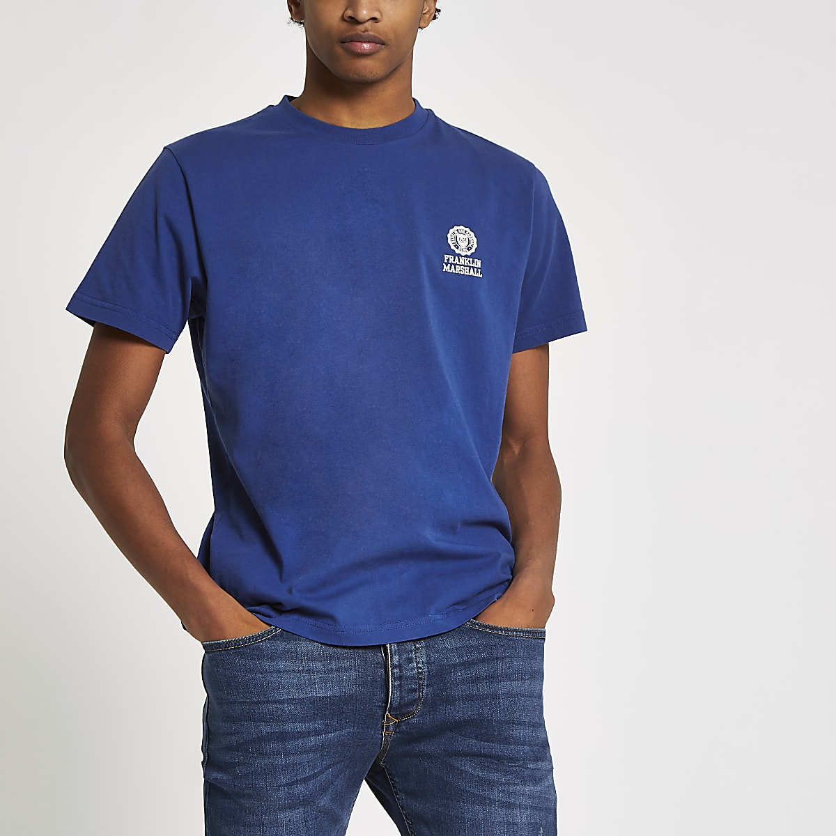 Franklin & Marshall blue chest logo T-shirt