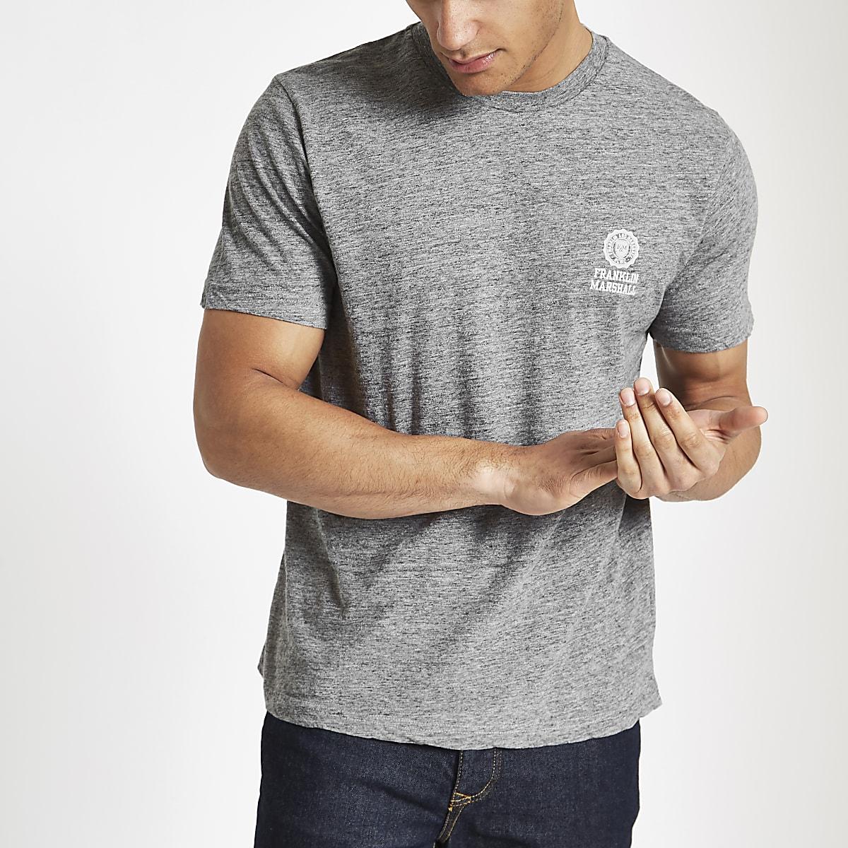Franklin & Marshall – T-shirt gris à logo sur la poitrine