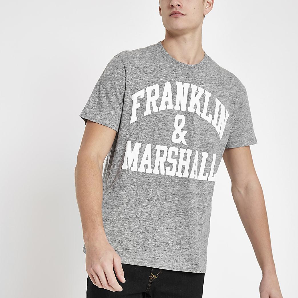 Franklin & Marshall grey logo print T-shirt