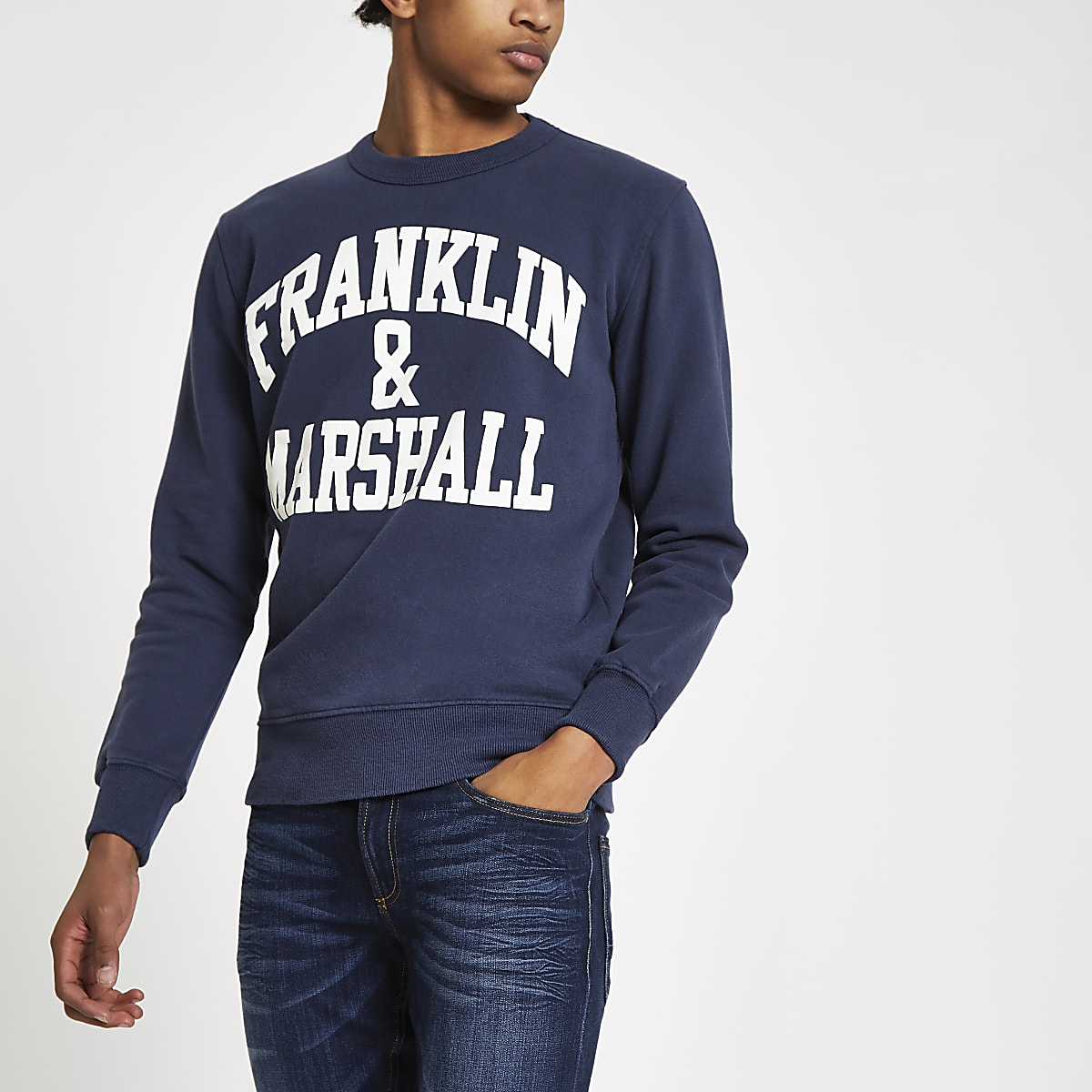 Franklin & Marshall – Sweat à logo bleu marine