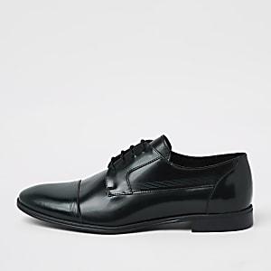 Chaussures derby en cuir vert foncé à lacets