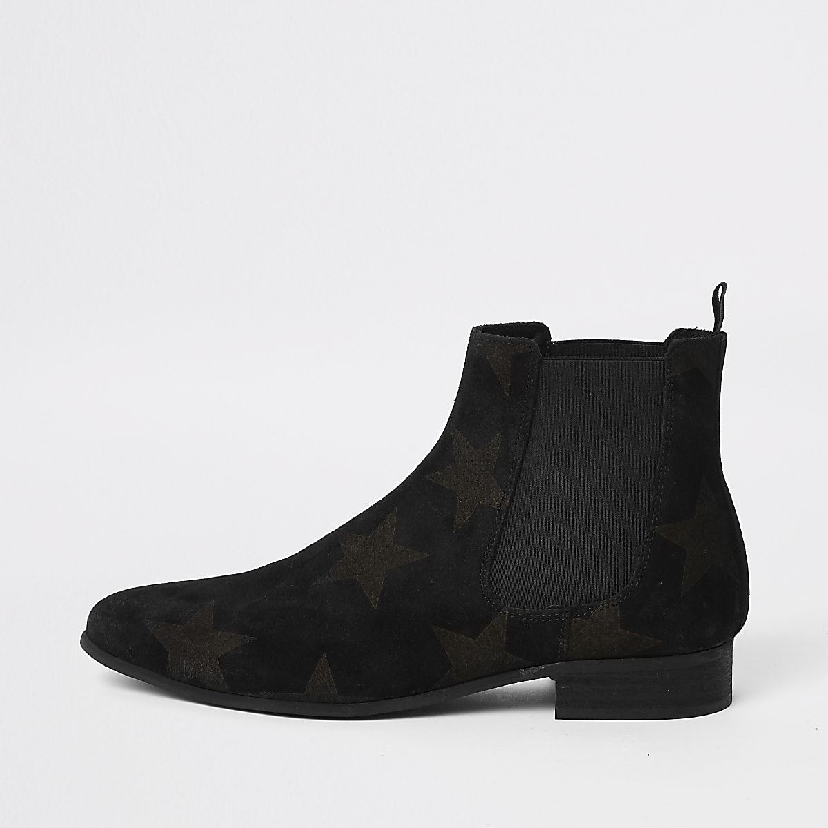 Black suede star embossed Chelsea boots