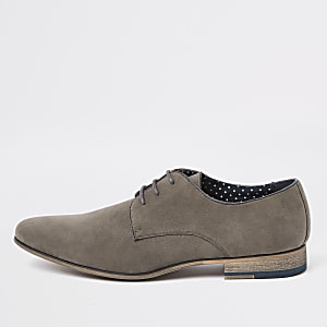 Grey lace-up derby shoes