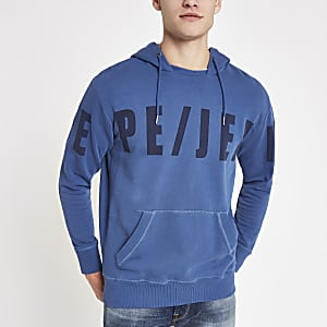 Pepe Jeans - Blauwe hoodie met logo
