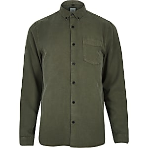 Khaki green button-down long sleeve shirt