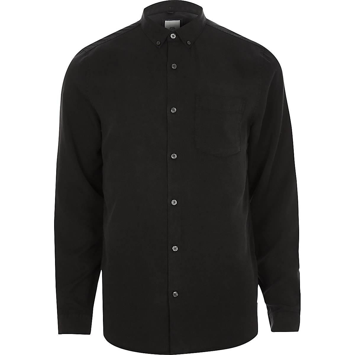 Black long sleeve button-down shirt