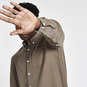 Brown button-down long sleeve shirt