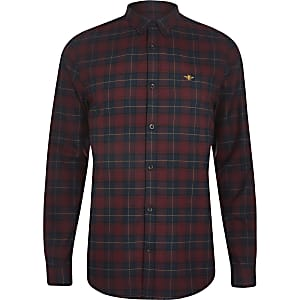 Dark red check embroidered long sleeve shirt