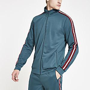 Green tape side zip track jacket